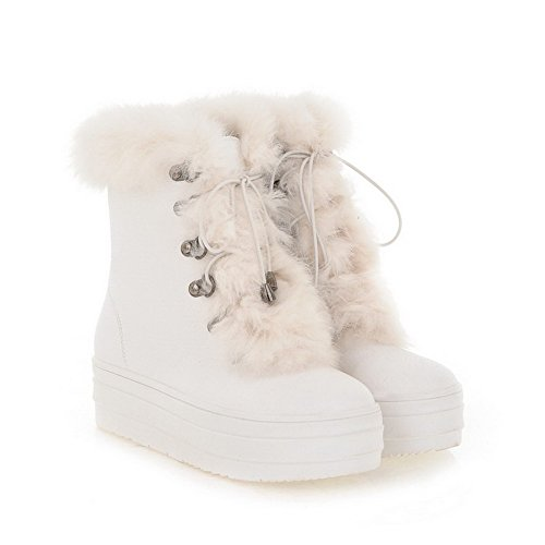 Closed White US AmoonyFashion Short Womens Platfrom Round Toe PU Toe M B Plush Boots Frost 7 Kitten Heels Solid with n5nZrxH