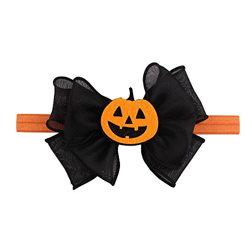 Cute Pumpkin Headbands with Big Bow for Baby Girls Toddler Halloween Party Boutique Fashion Headwear by Saingace (Pumpkin Bow)