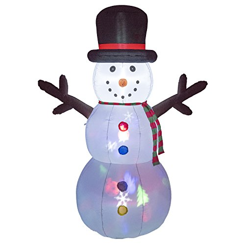 Prextex Christmas 8 Ft. Inflatable Flashing Snowman Cheerful Christmas Décor for Indoors or Outdoors (Snowman Christmas)