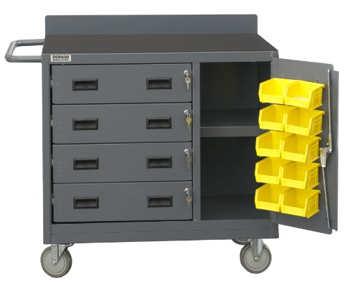 Durham 16 Gauge Welded Steel Mobile Cabinet with 4 Drawers and 10 Bins Lockable Storage Compartment, 2211-DLP-RM-10B-95, 1 Shelf