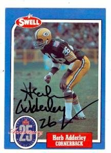 Herb Adderley autographed football card (Green Bay Packers) 1988 Swell  Football Greats  6 973280e30