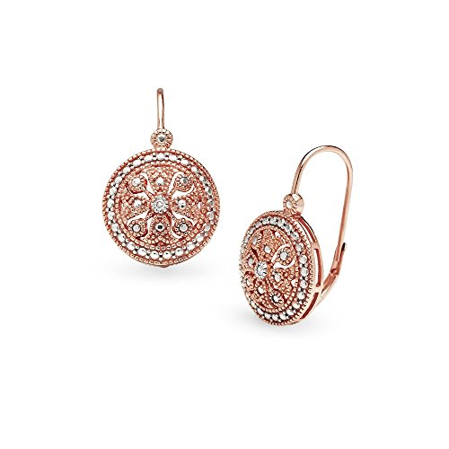 (Rose Gold Flashed Sterling Silver Round Filigree Medallion Diamond Accent Leverback Drop Earrings, IJ-I3)