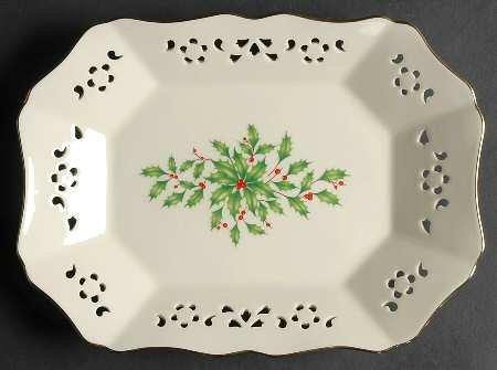 Lenox Holiday (Dimension) Pierced Relish/Olive Tray, Fine China ()