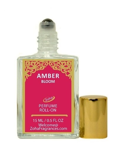 Amber Fragrance Oil - Amber Bloom (Roll-On) Amber Perfume Oil by Zoha Fragrances, 15ml/0.5 fl Oz