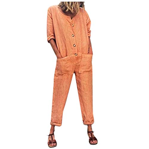 ♞Deadness-Womens Women's Linen Half Sleeve Jumpsuits Wide Leg Long Pants Backless Jumpsuit Rompers with Pockets Pink