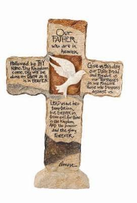 Carson Home Accents 12903 Lord's Prayer Earth Stone Cross, 11-Inch by 7-1/2-Inch (Religious Stone)