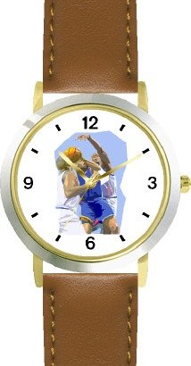 High Action Basketball Art No.3 Basketball Theme - WATCHBUDDY DELUXE TWO-TONE THEME WATCH - Arabic Numbers - Brown Leather Strap-Women's Size-Small by WatchBuddy