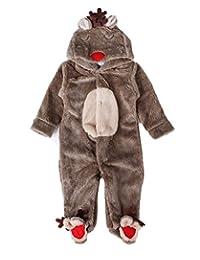 Brcus Baby Footed Onesie Pajamas Reindeer Cosplay Hoodie Cartoon Jumpsuit Costume