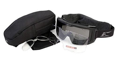 Edge Eyewear Blizzard Glasses, Black Goggles / Clear, G-15 Vapor Shield Lenses, Rx Lens - Rx Military Glasses
