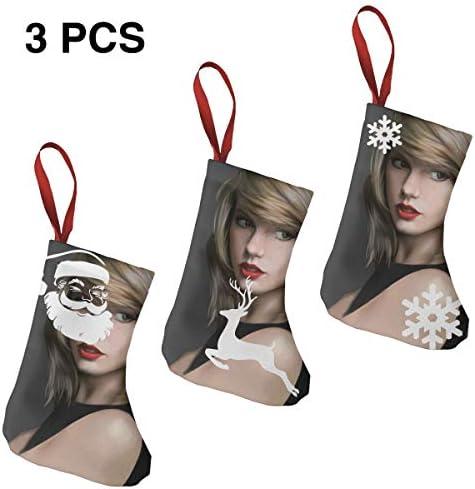 クリスマスの日の靴下 (ソックス3個)クリスマスデコレーションソックス テイラースウィフトTaylor Swift1 クリスマス、ハロウィン 家庭用、ショッピングモール用、お祝いの雰囲気を加える 人気を高める、販売、プロモーション、年次式