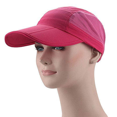 Ezyoutdoor Waterproof Collapsible Motion Hat Fishing Jungle Hat Outdoor Sunscreen Baseball Cap Long Brim Cap Fishing Hat for Fishing Hunting Camping Swimming Hiking,One Size Fit Most (Rose Red)