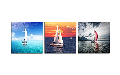 Child Wall Art Sailboat (NAN Wind 3 Panels 12X12inches Modern Giclee Canvas Prints Sailboat on the Ocean Sunset Wall Art Ocean at Night Seascape Pictures on Canvas Stretched and Framed Ready to Hang for Home Decor Wall Decor)