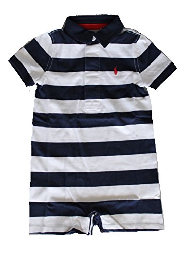 Ralph Lauren Baby Boys Striped Cotton Jersey Shortall (9 Months, French Navy/White)