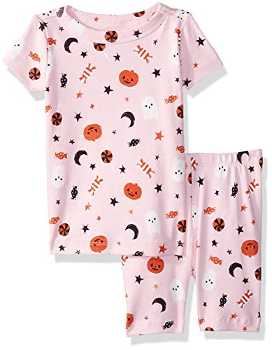 (Gymboree Baby Girls 2-Piece Tight Fit Sleeve Short Bottoms Pajama Set, Pink Halloween, 18-24)
