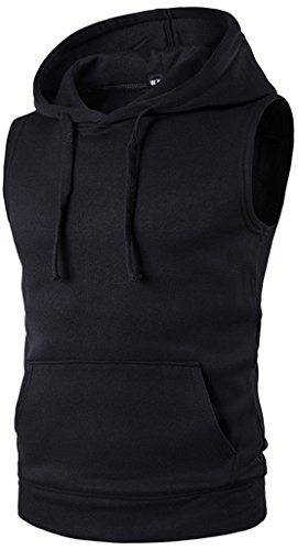 WHATLEES Mens Solid Sleeveless Pullover Fitness Hoodie Shirt Vest with Pockets B425-Black-L by WHATLEES