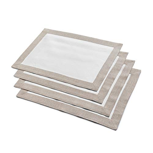Solino Home Decorative Linen Placemat - Festive Edge, 14 x 19 Inch Set of 4 Placemat Woven with Decorative Zari Border - White with Natural (Silver Table Placemats Linens Metallic)