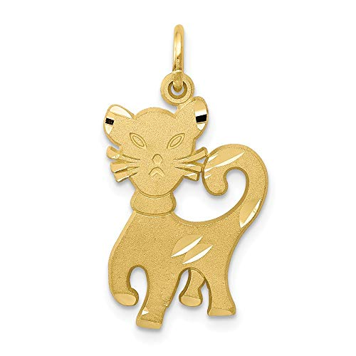 10K Yellow Gold CAT CHARM (Gold Charm Yellow Cat)
