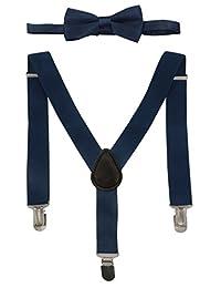 Aieoe Children Solid Adjustable Elastic Wedding Daily Wear Suspender Bowtie Set
