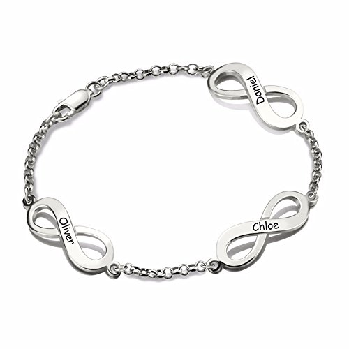 Personalized Infinity Name Bracelet Sterling Silver Custom Triple Infinity Sign Family Bracelet with Multiple Names (silver 6.5
