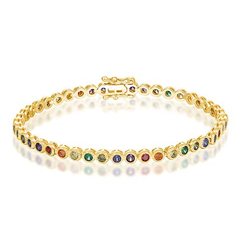 - Italina Women's Sister Charm White Round Cut Multi Color Cubic Zirconia Charm Classic Tennis Bracelet Gold Plated