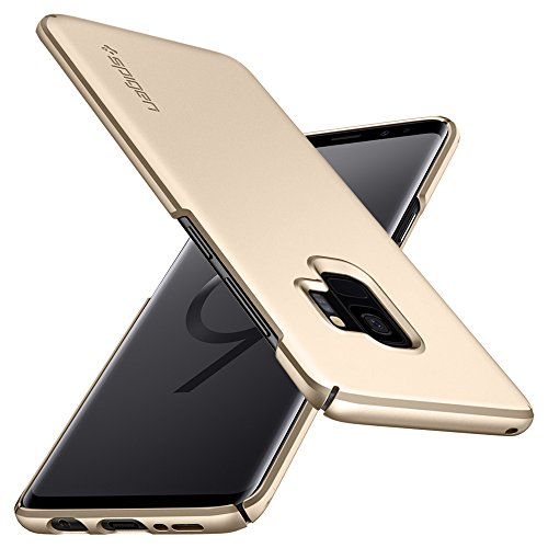 Spigen Thin Fit Galaxy S9 Case with Light but Durable Slim Profile with QNMP for Samsung Galaxy S9 (2018) - Maple Gold