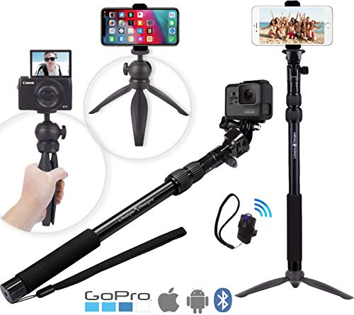 Premium HD Rugged 4-in-1 Selfie Stick Tripod Stand Kit + Bluetooth Remote – Universal: Any iPhone, Android, GoPro or Camera – iPhone Xs Max XS XR X 8 7 6 Plus, Samsung S9 etc. | Best Gift Pack from LifeStyle Designs