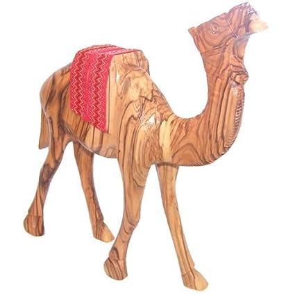 Amazon.com: Camello de madera de olivo con sillín Rojo ...
