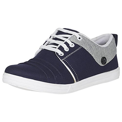 Emosis by Urban Whiz Men's 66 Blue Black Brown Colour Office Canvas Casual Lace-up Sneaker Derby Boot Shoe