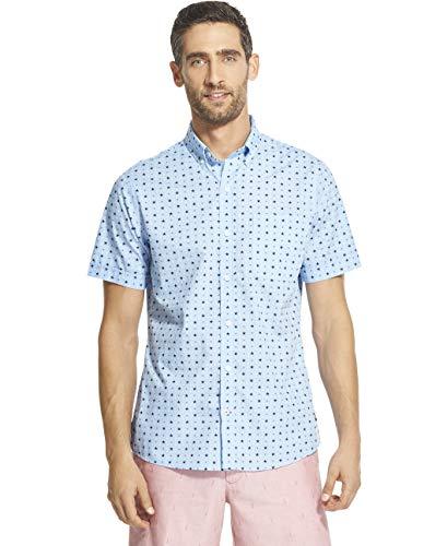 Patterned Linen Shirt - IZOD Men's Breeze Short Sleeve Button Down Patterned Shirt, Placid Blue, XX-Large