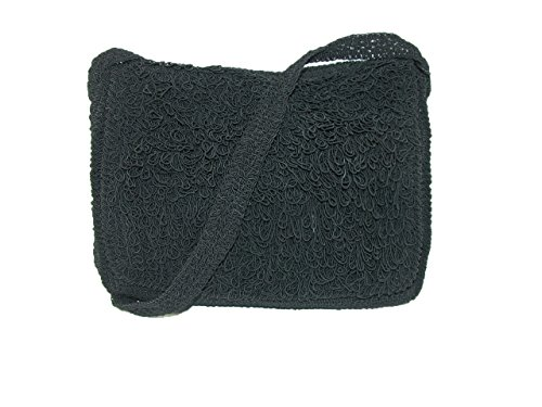 CTM Women's Crocheted Flap Front Crossbody Handbag, Black