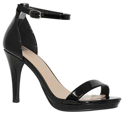 MVE Shoes Women's Open Toe Ankle Strap High Heels-Stiletto Dress Pumps - Single Band Sexy Party Shoes, Black pat Size 8.5