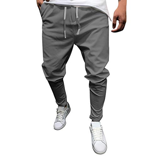 Casual Lounge Pants for Men, Huazi2 Pockets Drawstring Comfortable Trousers Gray