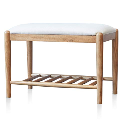 (WEIYV-Barstools,bar Chair Solid Wood Change Shoe Bench Nordic Oak Footstool Modern Simple Low Stool Living Room Storage Stool Shoes Bench 42cm (Color : White, Size : 423560cm))