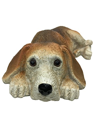 Universal Sculptural Garden Lying Down Restful Beagle Statue (Handcrafted Home and Outdoor Garden Statue), 9.25