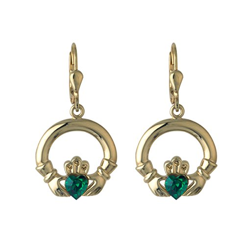 Claddagh Earrings Gold Plated Synthetic Emerald Drops