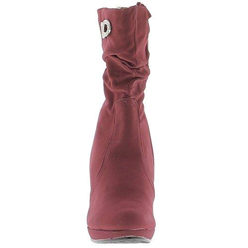 Bottines rouges à talon 10cm et plateforme doublées avec strass décoratif