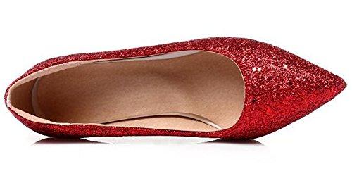 Idifu Kvinna Glitter Sequined Höga Klackar Stilett Halka På Spetsiga Pumps Röd