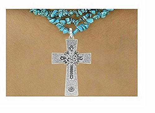 Cross Pendant & Aurora Borealis Austrian Crystal Accented Flower Decor Necklace (Cross Pendant Austrian)