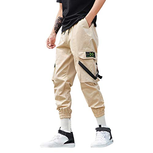 Men's Fashion Casual Pure Color Lightweight Nine-Minute Overalls Trousers Pants (S-5XL)