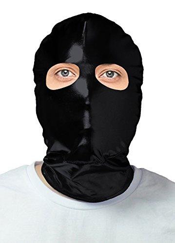 VSVO Adults Black Shiny Metallic Open Eyes Masks Costumes (Adults, (Purge Mask Halloween Express)
