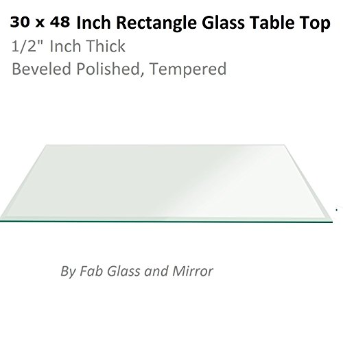 Fab Glass and Mirror 1/2'' Thick Beveled Tempered Radius Corners Rectangle Glass Table Top, 30'' X 48'' by Fab Glass and Mirror