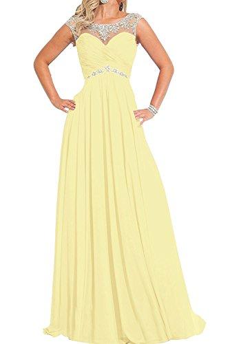 Partykleider Chiffon Ballkleider mia Pfirsisch Festlichkleider Braut Langes La Hell Damen Abendkleider Gelb Formalkleider U8040I