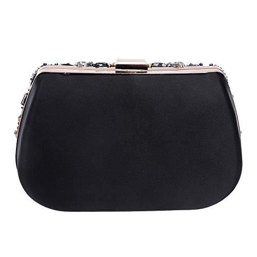 BESTSOON aftonväska kvinnor kuvertväska kvinnor pärlor multifunktion bankettväskor handväska strass crossbody väska axelväskor (svart) party handväska
