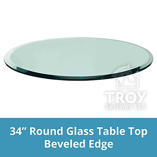 "Glass Table Top: 34'' Round, 3/8"" Thick, Beveled Edge, Po..."
