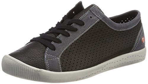 Softinos Sneaker Ica388sof grey black Schwarz Smooth dk suede Donna rw6rCpq