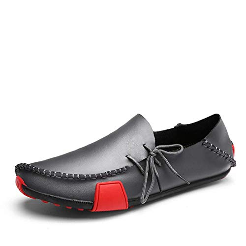 Ceyue Men's Casual Leather Loafers Breathable Driving Shoes-grey-9.5