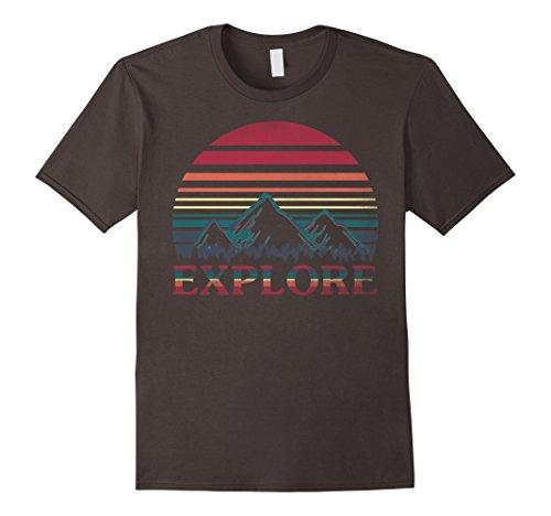 Explorer Mens (Mens Explore Retro Rainbow Gradient Mountain Vintage T-Shirt XL Asphalt)