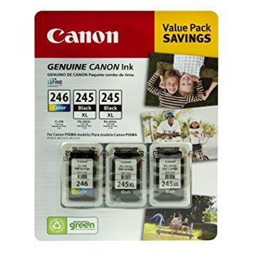- Canon PG-245XL/CL-246 Ink Tank Cartridge, Black/Tri-Color (3 pk)