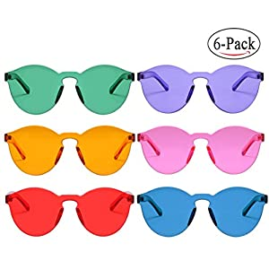 One Piece Round Rimless Sunglasses Transparent Candy Color Eyewear (9803-6 color)