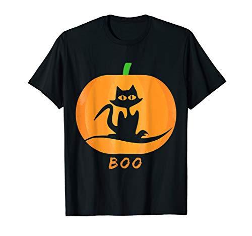 Cute Black Cat and Pumpkin Halloween Tshirt -